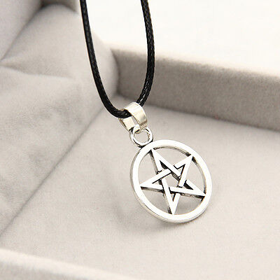 NEW Star Pentagram Circle Pendant Charm Silver Black Necklace Chain Jewelry Gift