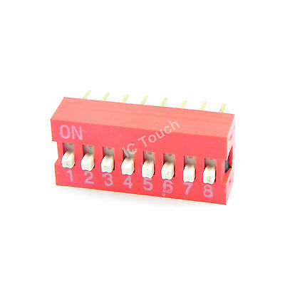 100pcs 2.54mm Pitch 8-Bit 8 Positions Ways Slide Type Red Switch DIP-16