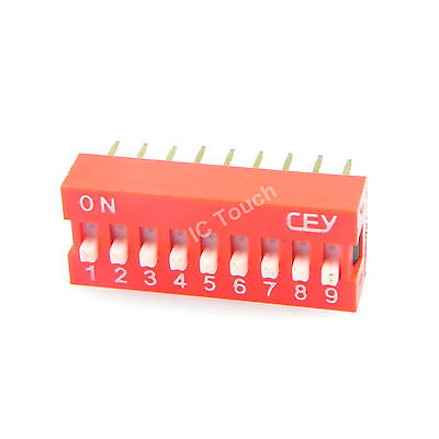 100pcs 2.54mm Pitch 9-Bit 9 Positions Ways Slide Type Red Switch DIP-18