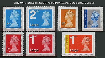 2017 M17L Machin SINGLE STAMPS from Counter Sheets Set of 7 values