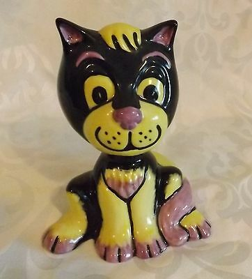 Very RARE Early Lorna Bailey Cat  FESTER  Signed in Gold & Black