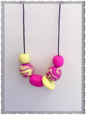 Polymer Clay Bead Handcrafted Necklace Handmade