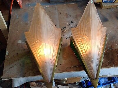 Art Deco Torchiere Wall Lights, Beautiful Original Ediswan Fittings,