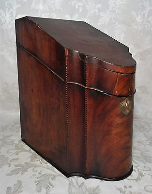 Antique 18th Century George III Inlaid Mahogany Knife Box with Inlay