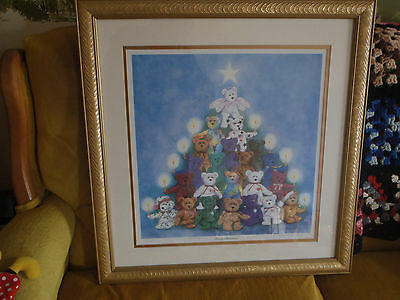 """""""TY"""" Bear Framed Print - """"Beary Christmas!"""" - by artist Patty Bailey Sheets"""