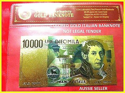24kt BANKNOTE ITALIAN 10000 LIRA COLOR GOLD COLOURED EUROPE BANK NOTE 3D + COA