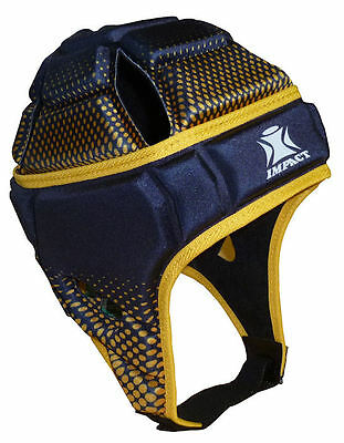 NEW IRB Approved IMPACT Rugby Headguard Scrumcap Union League Navy Yellow