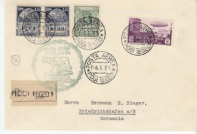 Zeppelin cover 1933 Rhodes Italian Dodecanese To Germany