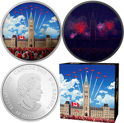 2017 Celebrating Canada 150 Glow-in-Dark $30 2OZ PureSilver Coin Parliament Hill