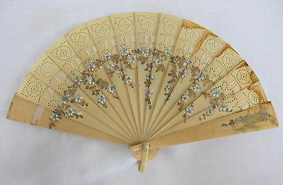 Vintage 1920's Flapper Hand Painted Celluloid Brise Fan - Flowers