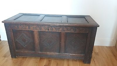 Antique very old Oak Coffer Chest Trunk Blanket Box for Storage during seasons