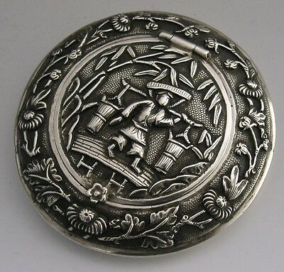 HIGH QUALITY CHINESE EXPORT SILVER CIRCULAR BOX c1900 ANTIQUE