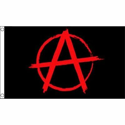 Anarchy Black Flag With Red Symbol 3FT x 2FT New Free UK Postage
