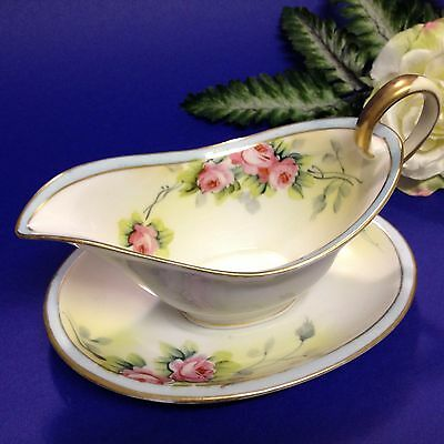 Antique Noritake, Japan 1910's - Hand Painted Sauce Boat & Saucer - Komaru Mark