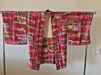 JAPANESE Silk Haori Jacket KIMONO Robe Red Multi Mount Fuji Print Size Small NEW