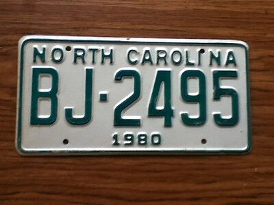 Vintage License Plate Tag North Carolina NC 1980 BJ 2495 NOS Never Issued Rustic