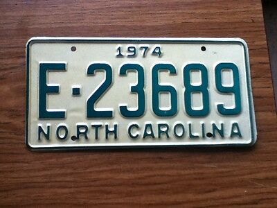 Vintage License Plate Tag North Carolina NC 1974 E 23689 NOS Never Issued Rustic