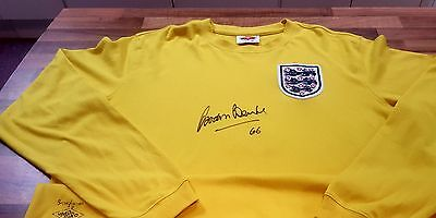 """Signed England 1966 Goalkeeper Home Shirt by Gordon Banks- Signed Name with """"66"""""""
