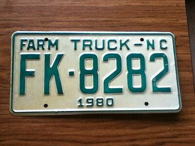 Vintage License Plate Tag North Carolina NC 1980 Farm NOS Never Issued Rustic
