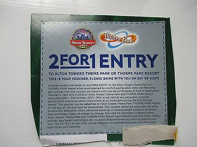Voucher 2 For 1 Alton Towers & Thorpe Park Valid Until 31 May 2018