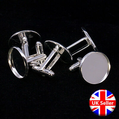 20mm Silver Tone Cufflink Setting Blanks Fits 18mm Cabochon