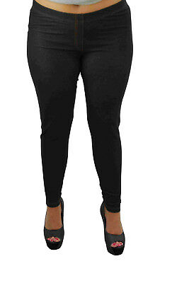 New Ladies Plus Size Elasticated Waist Full Length Stretch Denim Look Jeggings