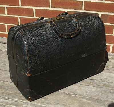 1940's Emdee Schell Black Leather Medical Doctor Bag Steampunk Industrial