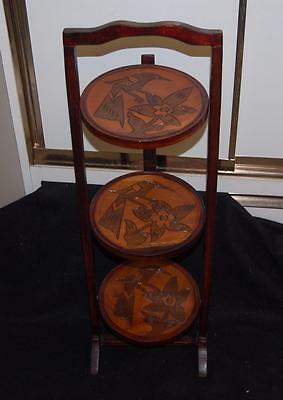 vintage carved wood pie holder plant carved tiered stand