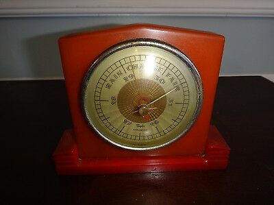 Vintage Art Deco Bakelite Catalin Barometer by Taylor Red & Butterscotch Swirl
