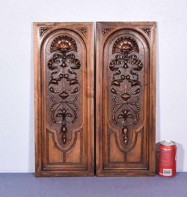 Pair of French Antique Louis XVI Style Carved Panels in Walnut Wood