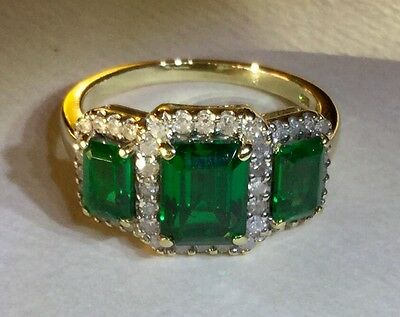 Solid 9K 375 Yellow Gold Genuine Diamond and Emerald Trilogy Ring