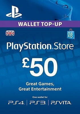 PlayStation Network £50 GBP - 50 Pounds PSN Store Card Key - PS4 PS3 PSP – UK