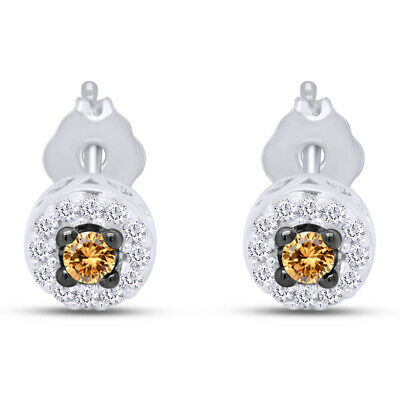 1/4 Ct Round Cut Diamond Sterling Silver Halo Stud Earrings