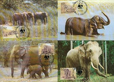 Sri Lanka Michel 753-56 elephant Elefant MC MK WWF bq21
