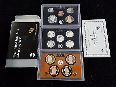 2012-s Silver Proof 14 Coin Set State Quarters Presidential Dollars w/Box & COA