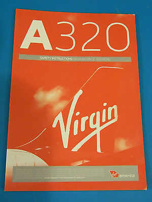Virgin America Airlines Safety Card--Airbus 320