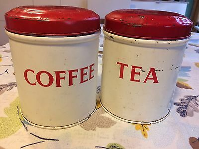 Vintage Tea & Coffee Canisters Tins retro Shabby Chic Kitchenalia Containers