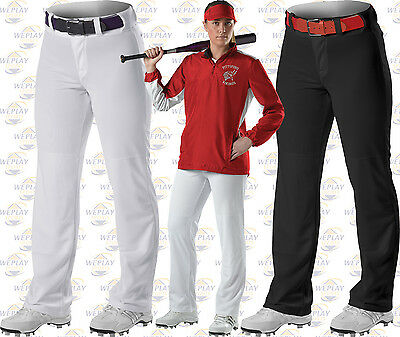 Alleson Womens Open Bottom Fastpitch Softball Pants 605WLPW White or Black