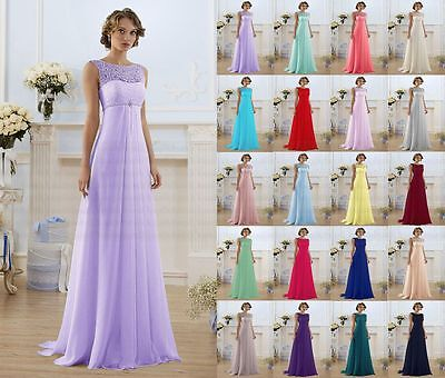 New Lace Formal Wedding Long Evening Dress Party Ball Gown Prom Bridesmaid Dress