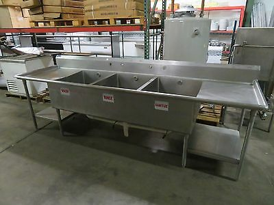 """124"""" Stainless Steel 3 Compartment Commercial Sink with 2 Drainboards -14 GAUGE"""
