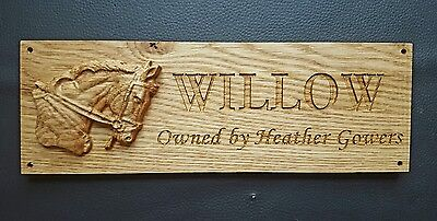 Personalised Oak 3D Carved Horse Head Stable Door Plaque Sign With Engraved Name