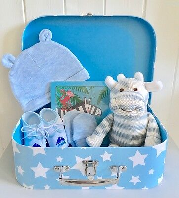 Blue Baby Boy Hamper NEWBORN BABY HAMPER Baby Boy Gift Baby Boy Suitcase Hamper