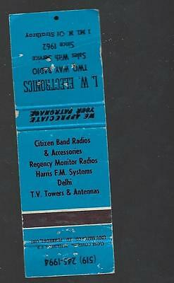 Vintage L.w. Electronics Two Way Radio Sales & Services Strathroy  Matchcover