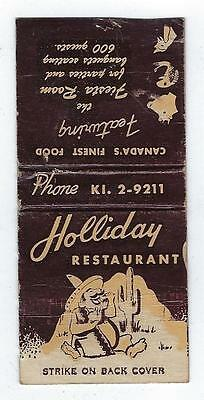 Vintage Holliday  Restaurant  Ontario Matchcover With Map On Inside