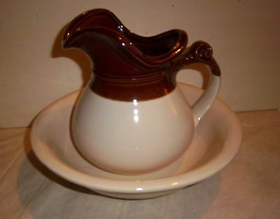 McCoy POTTERY - BROWN & CREAM  BOWL & PITCHER SET