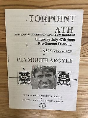 Torpoint Athletic v Plymouth Argyle (Friendly) 17/7/1999 programme