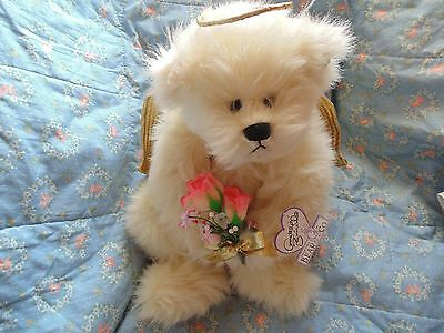 "Annette Funicello Angel Bear 14"" With Flower Bouquet VGU REDUCED"