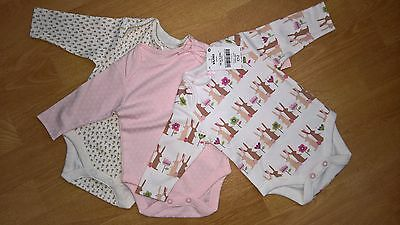 Next Baby Girls Pink Bunny Bodysuits 3 pack (size 0-3 months)