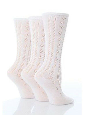 3 Pairs Girls White Pelerine 3/4 High Length Cotton Summer School Uniform Socks
