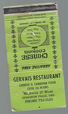 Vintage Gervais Restaurant   Hwy 17 West Sturgeon Falls Ont. Matchcover Open 24